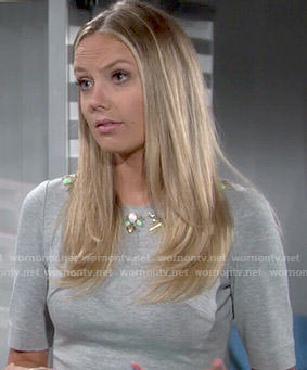 Abby's grey embellished neckline dress on The Young and the Restless