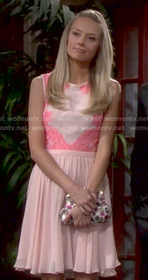 Abby's pink lace border dress on The Young and the Restless