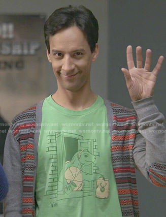 Abed's green dinosaur graphic tee on Community