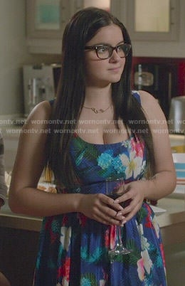 Alex's blue floral dress on Modern Family