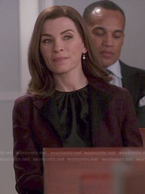Alicia's black gathered neck top on The Good Wife