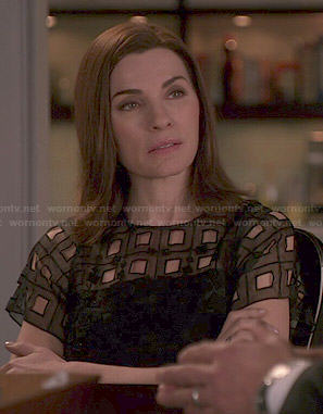 Alicia's black square-eyelet top on The Good Wife