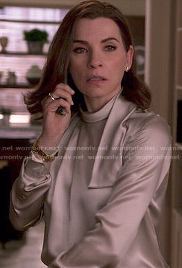 Alicia's silver blouse on The Good Wife