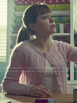 Alison's pink cable-knit cardigan on Orphan Black