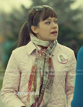 Alison's light pink quilted jacket on Orphan Black