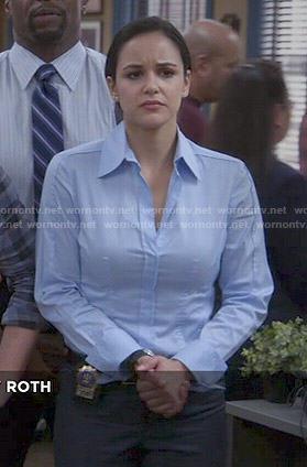 Amy's blue button down shirt on Brooklyn Nine-Nine