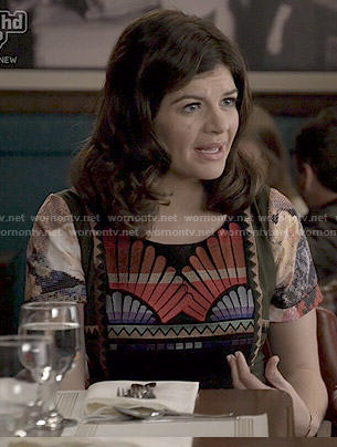 Annie's fan print dress on Marry Me