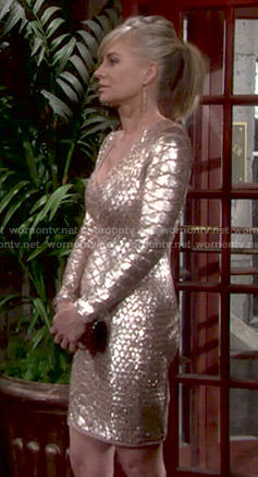 Ashley's gold snake textured dress on The Young and the Restless