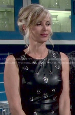 Ashley's black embellished leather top on The Young and the Restless