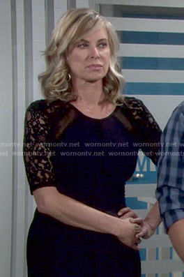 Ashley's navy and black lace sleeve dress on The Young and the Restless