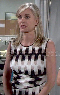 Ashley's brown, black and white printed top on The Young and the Restless