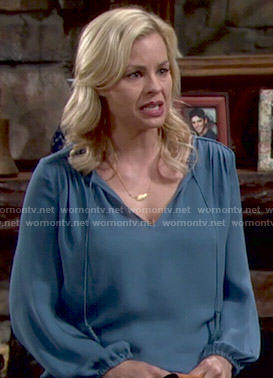 Avery's blue blouse with tassels on The Young and the Restless