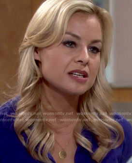 Avery's round gold pendant necklace on The Young and the Restless