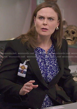 Brennan's blue and white printed blouse on Bones