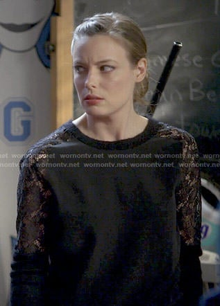 Britta's black lace sleeve sweater on Community
