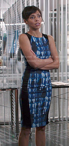 Camille's blue and black abstract print dress on Bones