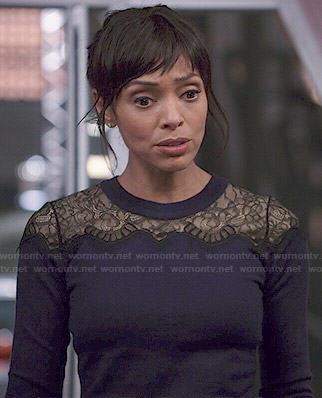 Camille's navy lace sweater on Bones