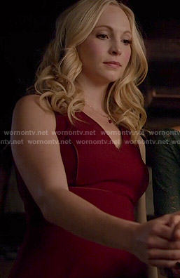 Caroline's red v-neck dress on The Vampire Diaries