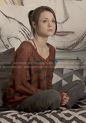 Carter's brown striped sweater with pointelle sleeves on Finding Carter