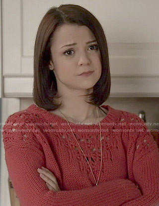Carter's red chunky knit sweater on Finding Carter