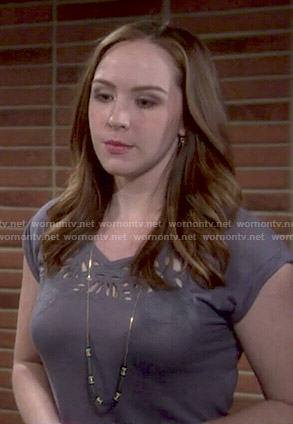 Cassie's grey cutout tee on The Young and the Restless