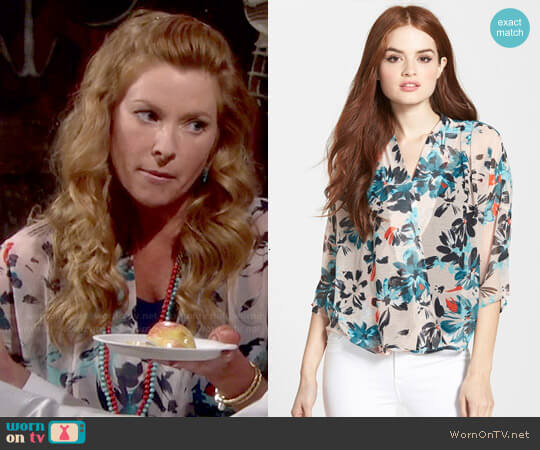 Chelsea 28 Kimono Wrap Top in Pink Peach Magnola Print worn by Kelly on The Young and the Restless