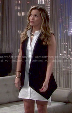 Chelsea's white shirtdress with black vest on The Young and the Restless