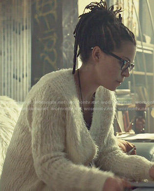 Cosima's white fluffy cardigan on Orphan Black