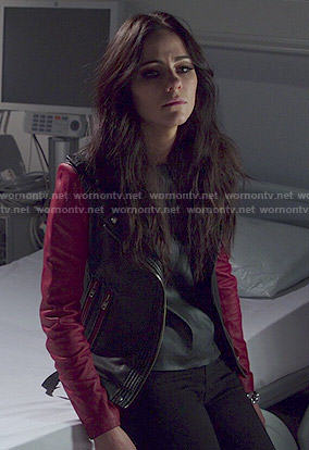Princess Eleanor's leather jacket with red sleeves on The Royals
