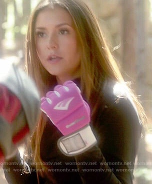 Elena's pink kickboxing gloves on The Vampire Diaries