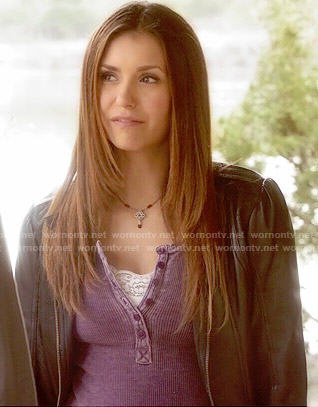 Elena's purple henley top on The Vampire Diaries