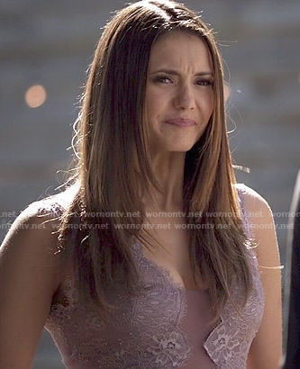 Elena's purple lace gown on The Vampire Diaries
