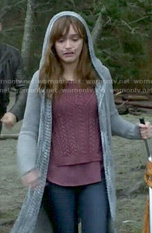 Emma's purple cable knit sweater and hooded cardigan on Bates Motel