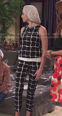 Emma's black and white windowpane check top and trouser set on Jessie