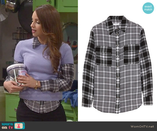 Equipment Signature Plaid Washed-Silk Shirt worn by Aimee Carrero on Young & Hungry
