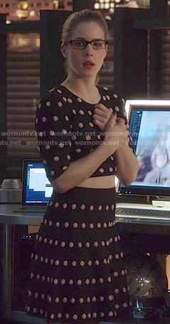 Felicity's polka dot crop top and skirt set on Arrow