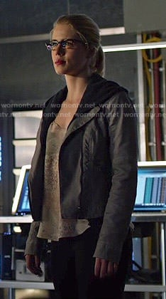 Felicity's printed cami and grey leather jacket on Arrow