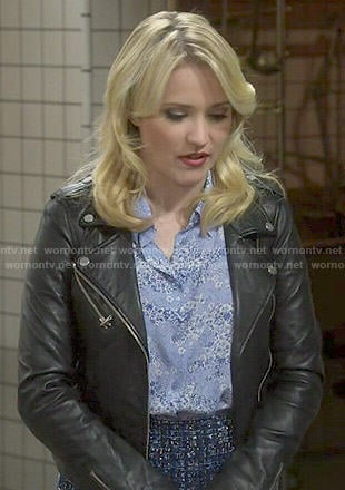 Gabi's blue floral top and tweed skirt on Young and Hungry