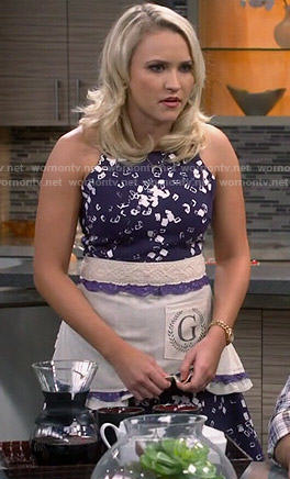 Gabi's navy blue blocks printed dress on Young and Hungry