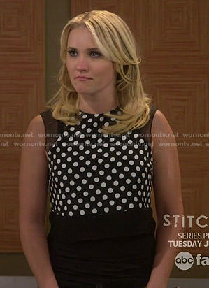 Gabi's black polka dot top with mesh panels on Young and Hungry