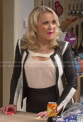 Gabi's colorblock leather jacket and studded top on Young and Hungry