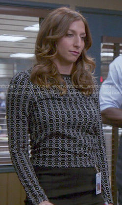 Gina's black honeycomb print top on Brooklyn Nine-Nine
