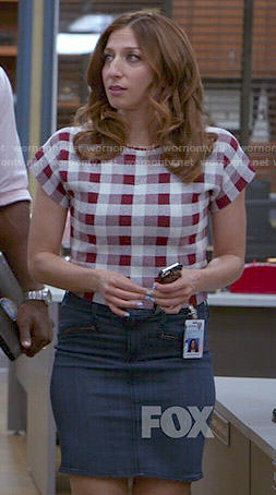 Gina's red gingham checked top on Brooklyn Nine-Nine