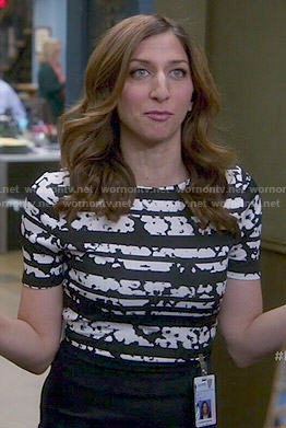 Gina's black and white striped print top on Brooklyn Nine-Nine