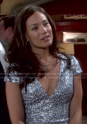 Gwen's blue embellished v-neck dress on The Young and the Restless