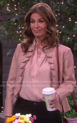 Hope's beige blouse and pink ruffled leather jacket on Days of Our Lives