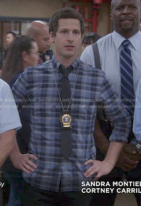 Jake's blue plaid shirt on Brooklyn Nine-Nine