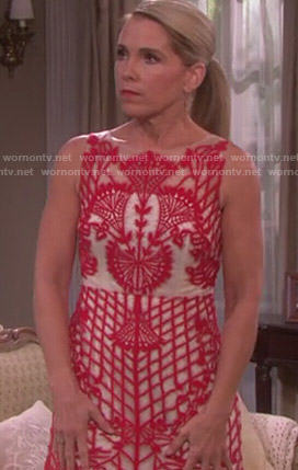 Jennifer's red lace overlay dress on Days of Our Lives