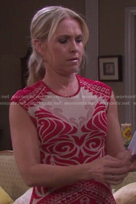 Jennifer's red and nude patterned dress on Days of our Lives