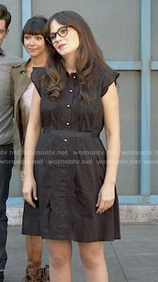 Jess's black eyelet trim dress on New Girl